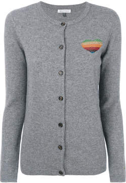 Bella Freud metallic rainbow heart cardigan