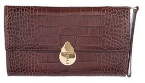 Smythson Embossed Leather Travel Clutch