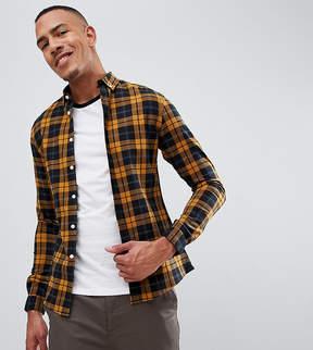 Asos DESIGN Tall Skinny check shirt in mustard