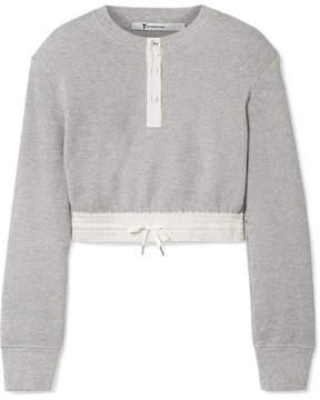 Alexander Wang Cropped Striped Poplin-trimmed Waffle-knit Cotton Sweater - Light gray