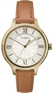 Timex Women's Peyton Gold-Tone Watch, Brown Leather Strap