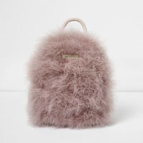 River Island Womens Pink feather mini backpack