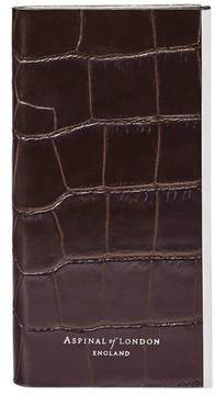 Aspinal of London Iphone 7 Leather Book Case In Deep Shine Amazon Brown Croc Stone Suede