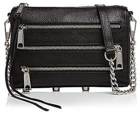 Rebecca Minkoff Mini Five Zip Leather Crossbody - BLACK/SILVER - STYLE