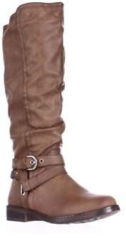 XOXO Martin Wide Calf Braided Strap Riding Boots, Tan.