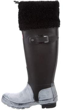 Hunter Shearling-Trimmed Rain Boots
