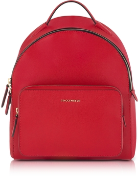 Coccinelle Clementine Poppy Red Leather Backpack