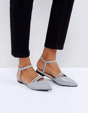 Glamorous Cut Out Stud Point Flat Shoes