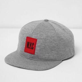 River Island Boys grey jersey 'NYC' flat peak cap