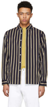 Saturdays NYC Navy Crosby Satin Stripe Button-Down Shirt