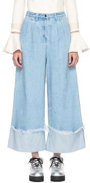 Edit Blue Cuffed Denim Culottes