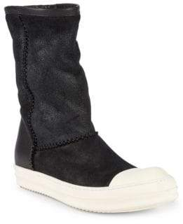 Rick Owens Shearling-Lined Leather Mid-Calf Boots