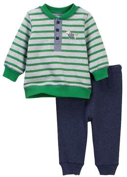 Little Me Stripe Sweatshirt Set (Baby Boys)