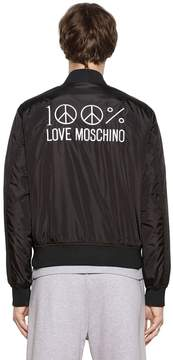 Love Moschino Embroidered Nylon Bomber Jacket