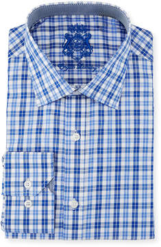 English Laundry Classic-Fit Plaid Dress Shirt, White/Blue