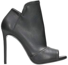 Grey Mer Black Leather Anle Boots