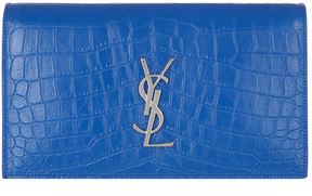 Saint Laurent Kate Croc-Embossed Monogram Clutch Bag - BLUE - STYLE
