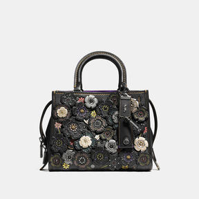 COACH Coach Rogue 25 In Natural Pebble Leather With Tooled Tea Rose - BLACK COPPER/BLACK - STYLE