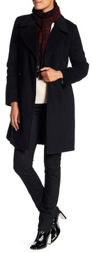 Ellen Tracy Faux Leather Trim Wool Blend Jacket