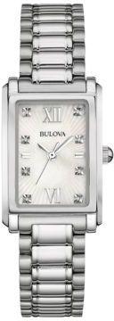 Bulova Ladies' Diamond and Stainless Steel Bracelet Watch, 96P157