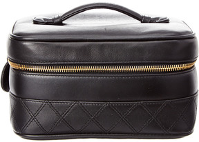 Chanel Black Calfskin Leather Wide Vanity Case
