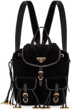 Prada Black Quilted Velvet Backpack