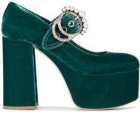 Miu Miu Green Velvet Platform 130 Mary Jane Heels