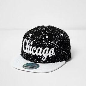 River Island Mini boys Chicago print paint splatter cap