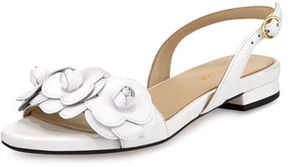 Taryn Rose Ida Flower Flat Slingback Sandal, White