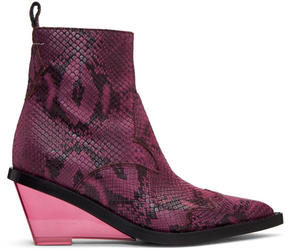 MM6 MAISON MARGIELA Pink Faux-Python Wedge Boots