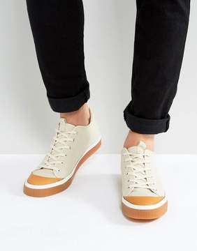 Asos Lace Up Sneakers In Stone With Gum Sole