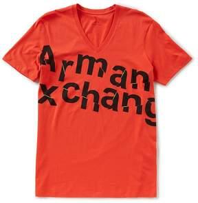 Armani Exchange Broken Logo Short-Sleeve V-Neck Tee