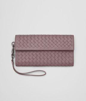 Bottega Veneta Continental Wallet In Glicine Intrecciato Nappa Leather