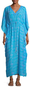 Letarte V-Neck Printed Georgette Caftan Maxi Dress