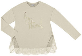 Mayoral Hey There Lace Tee, Beige, Size 8-16