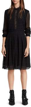 AllSaints Lilith Eyelet Fit-and-Flare Dress