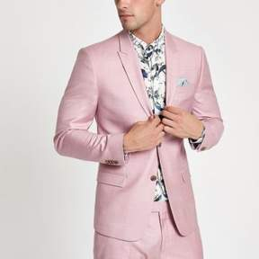 River Island Mens Pink skinny suit jacket