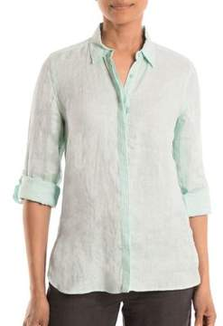 Olsen Linen Button-Front Top