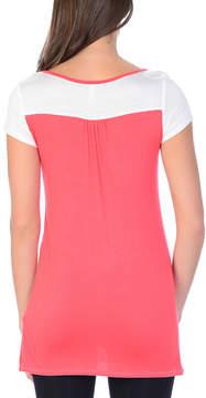 Celeste White & Coral Color Block Cap-Sleeve Top - Women