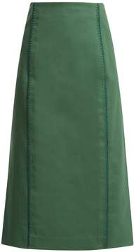 Fendi Whipstitched stretch-cotton skirt
