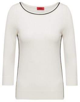 HUGO Boss Cotton Silk Oversized Sweater Sastia XS Natural