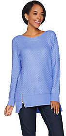 C. Wonder As Is Novelty Stitch Pullover Sweater with Side Zip Detail
