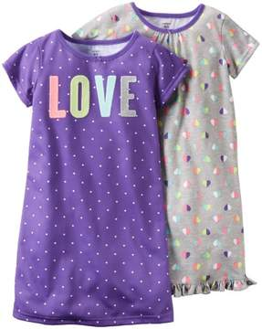 Carter's Print Gowns (2 Pack), Dots/Hearts