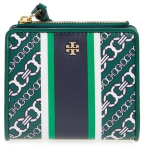Tory Burch Women's Mini Gemini Link Coated Canvas Wallet - Green - BLUE - STYLE