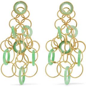 Buccellati Hawaii 18-karat Gold Jade Earrings