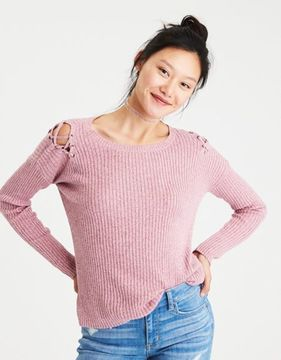 American Eagle Outfitters AE Lace-Up Shoulder Sweater