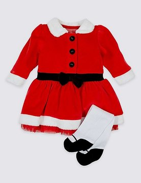 Marks and Spencer 2 Piece Santa Dress with Tights Outfit