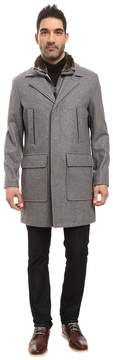 Cole Haan Pressed Melton Wool Topper with Faux Fur Collar Men's Coat