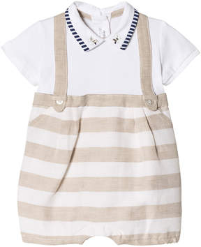 Mayoral Beige Stripe Dungaree Effect Collared Romper