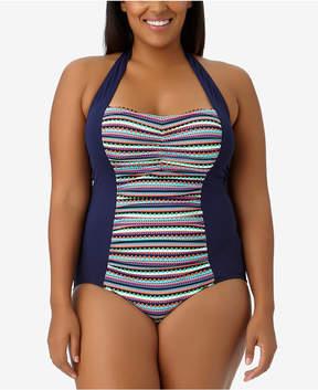 Anne Cole Plus Size Friendship Bracelet Halter One-Piece Swimsuit, Created for Macy's Women's Swimsuit